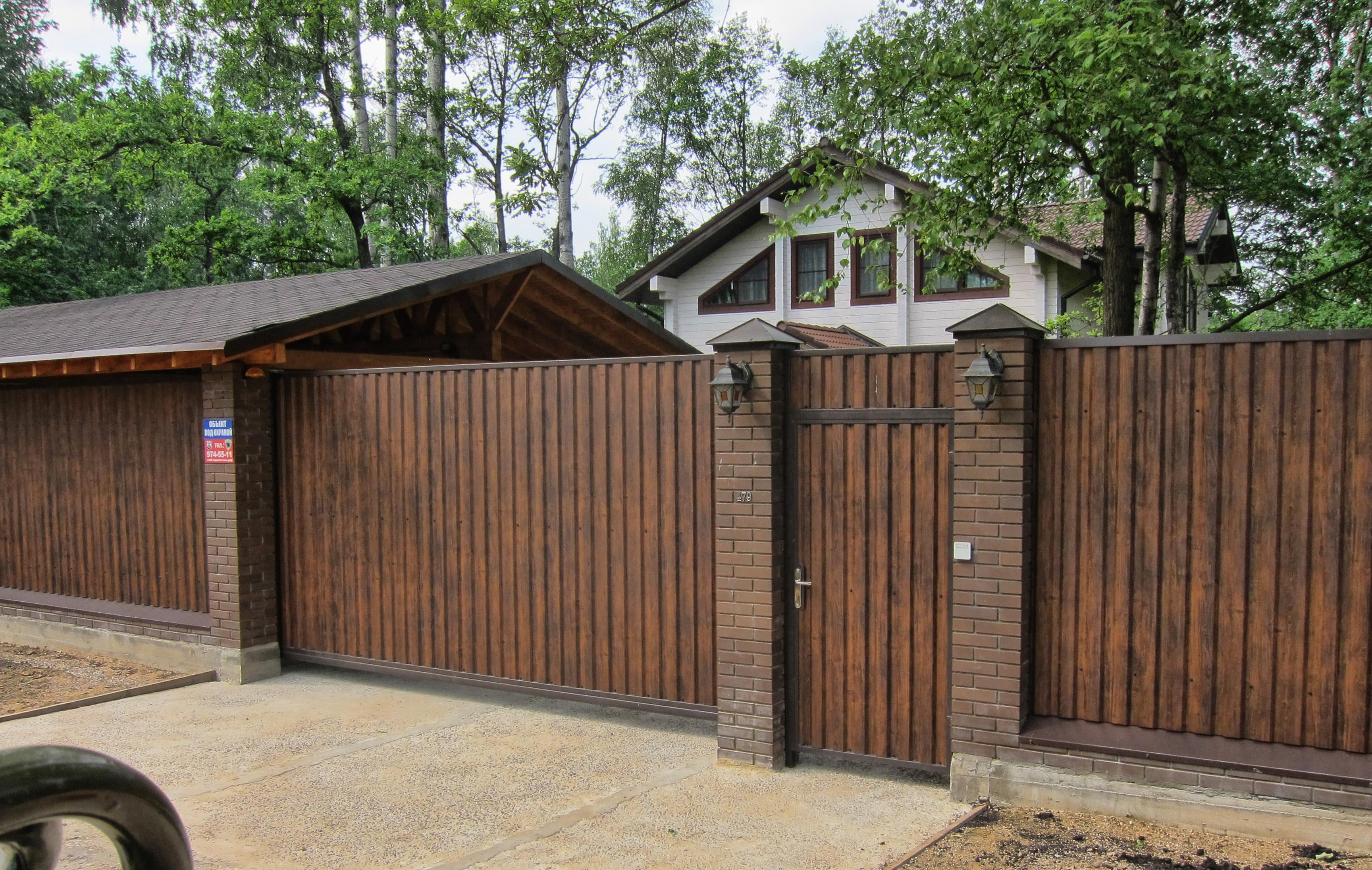 Откатные ворота деревянные
