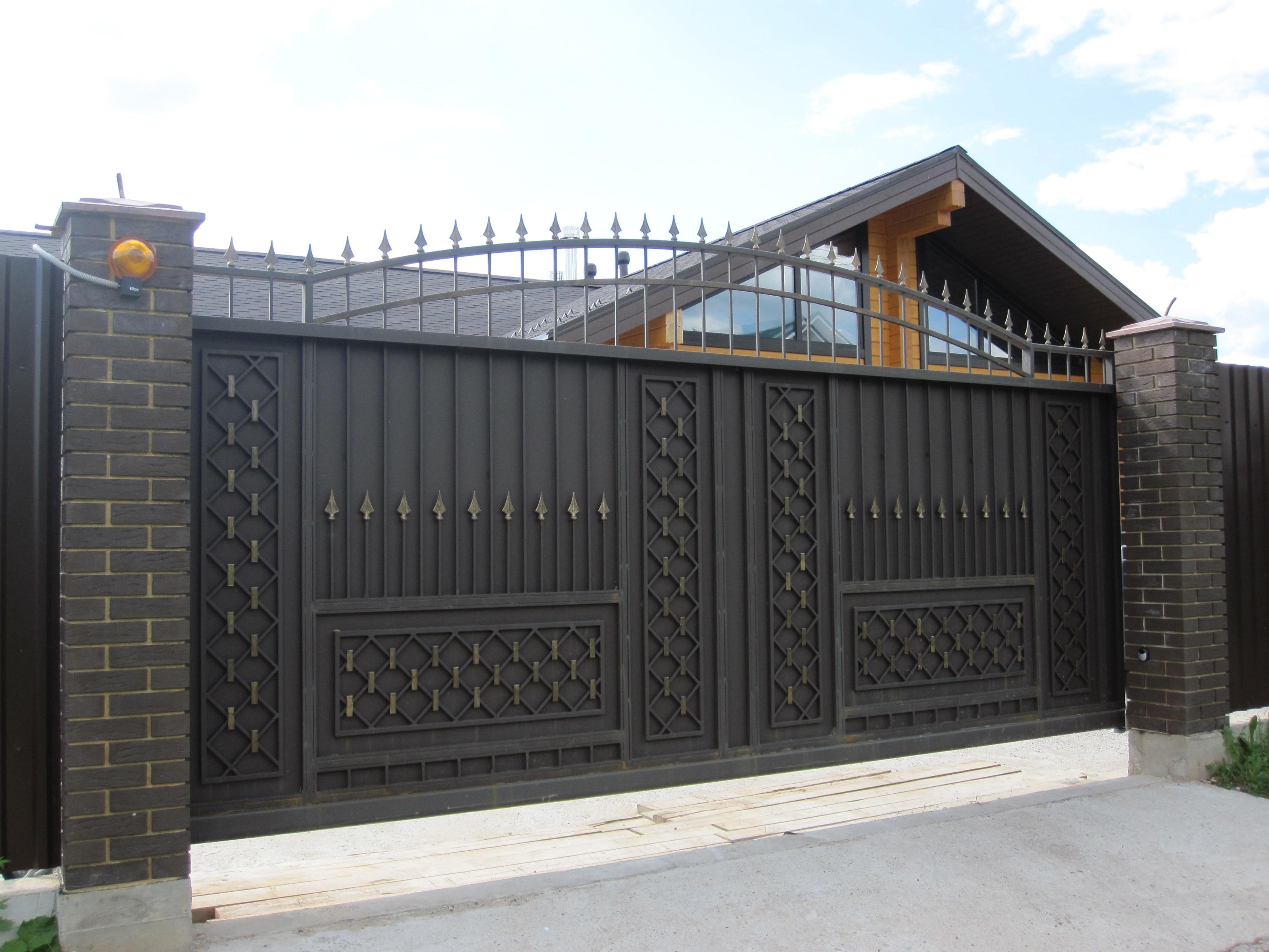 красивые оригинальные откатные ворота фото